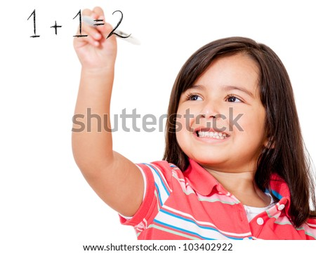 School girl learning to add and writing on the board - isolaed - stock photo