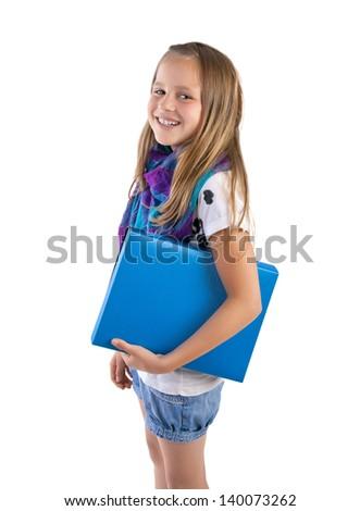 school girl with blue folder - stock photo