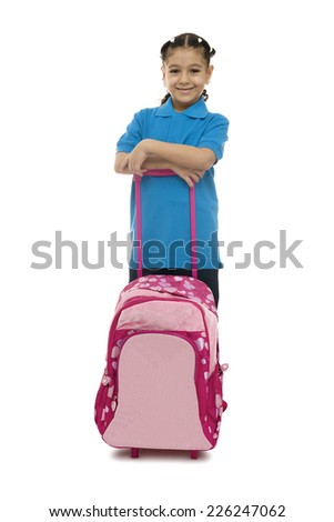 School Girl with Rolling Backpack Isolated on White Background - stock photo