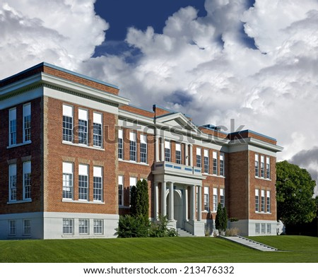 School - historic North America's brick school - stock photo