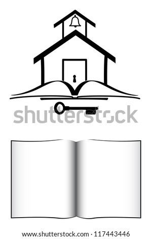 School House , Book, And Key - stock photo