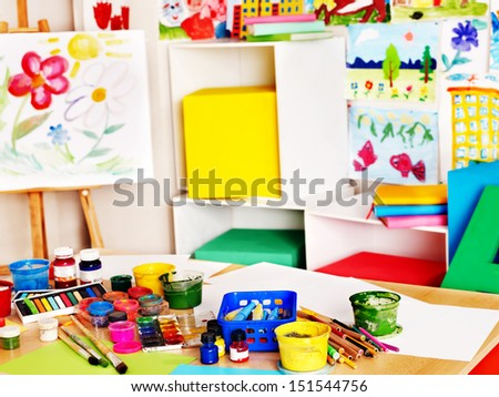 School interior with paint and crayon. No people. - stock photo