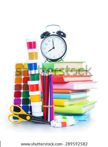 School items on the white background - stock photo