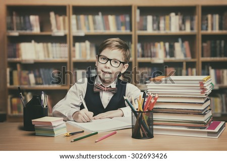 School Kid Education, Student Child Write Book, Little Boy in glasses, Vintage Classroom - stock photo