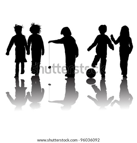 school kids friends silhouettes, girls and boys over white - stock photo