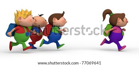 school kids running from left to right - three boys chasing a girl - back to school concept - stock photo