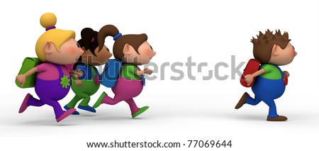 school kids running from left to right - three girls chasing a boy - back to school concept - stock photo