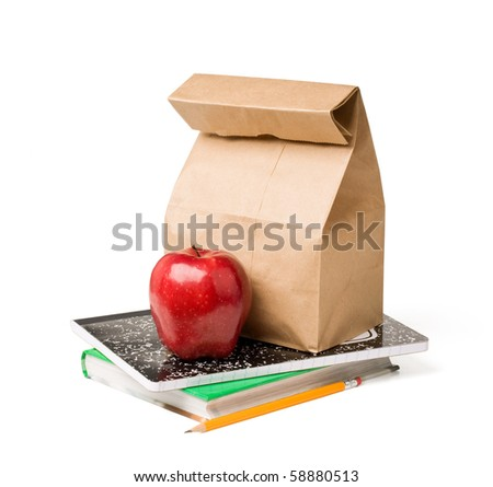 School lunch. Brown paper bag and a red apple on top of textbooks against white background. - stock photo