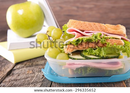school lunch with sandwich - stock photo