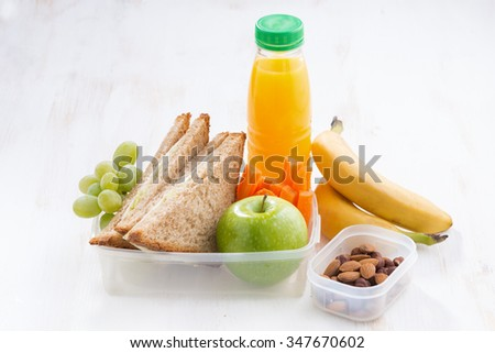 school lunch with sandwich, horizontal - stock photo
