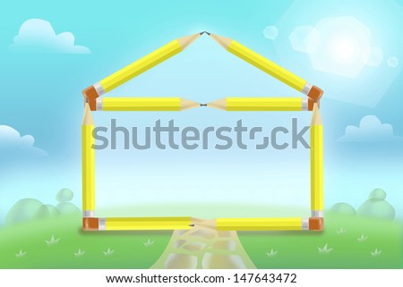 School made of Pencils. Education Concept - stock photo
