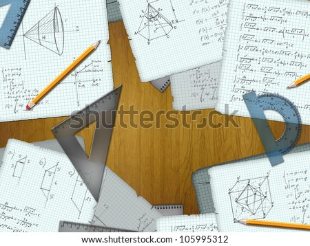 school math calculations on a wooden desk - stock photo