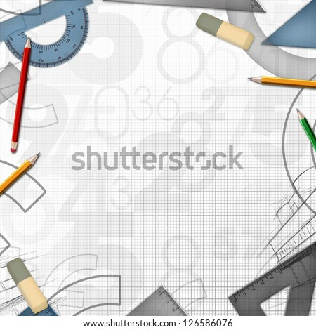 school math drawing tools background illustration - stock photo