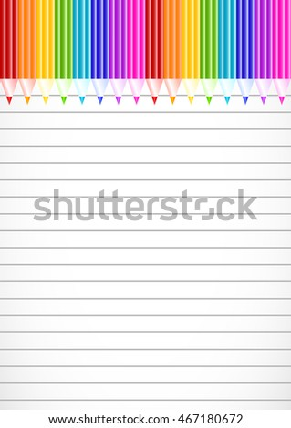School notebook background with colorful pencils on top on page of copybook in line. Back to school. Teacher's day. Raster illustration