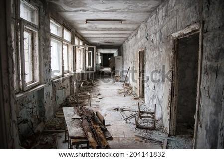 School of Pripyat / Chernobyl disaster - stock photo