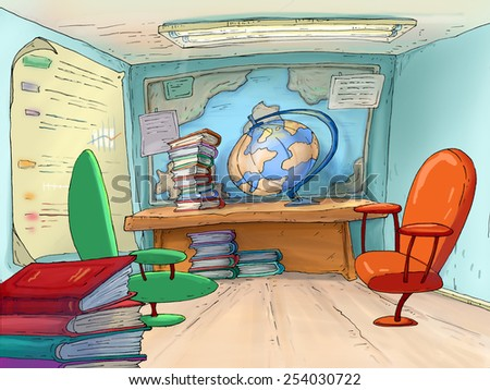 School office. Geography cabinet..Travel Agents. - stock photo