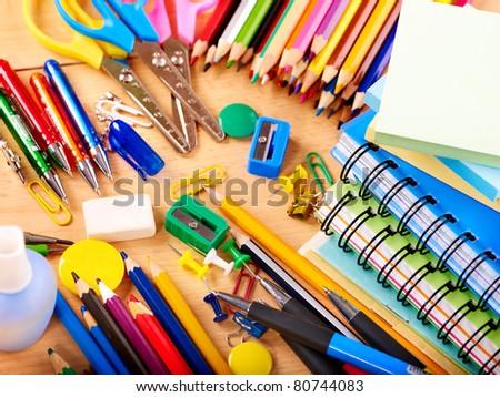School  office supplies on board. - stock photo