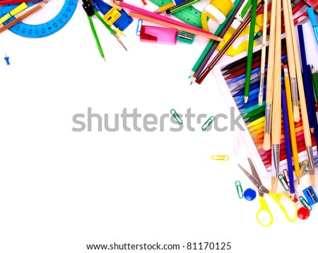 School  office supplies. Writing utensils - stock photo