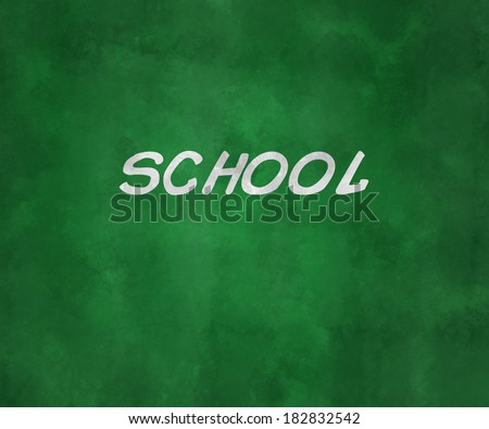 School on Green Chalk Board - stock photo
