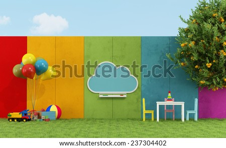 School playground for children with cloud chalkboard and toys - 3D Rendering - stock photo