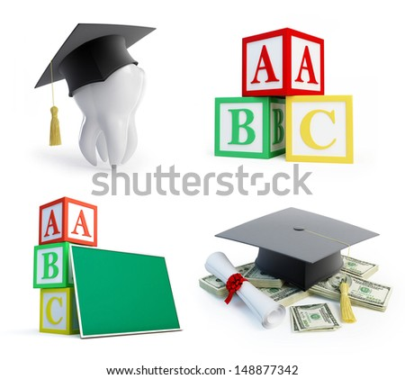 school set, graduation cap tooth on a white background - stock photo
