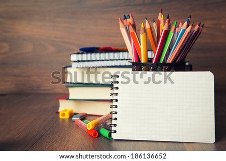 school stationary - stock photo
