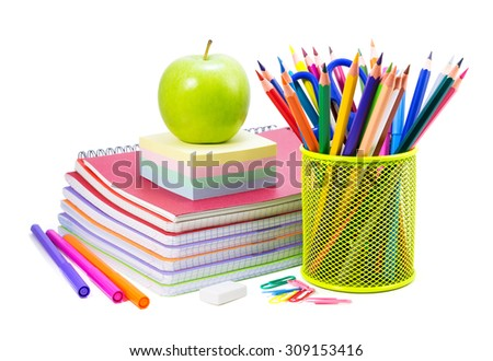 School stationery on a white, back to school background - stock photo
