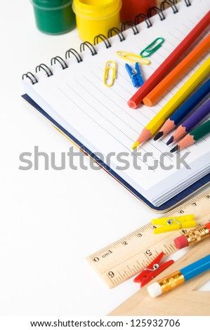 School stationery on the white