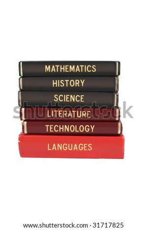 School subjects textbooks like mathematics, history, science, and technology on a white background - stock photo