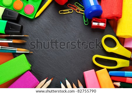 School supplies, background with copy space. - stock photo