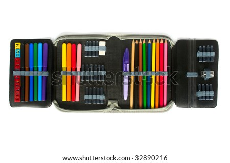 school supplies in pencil case on white background - stock photo