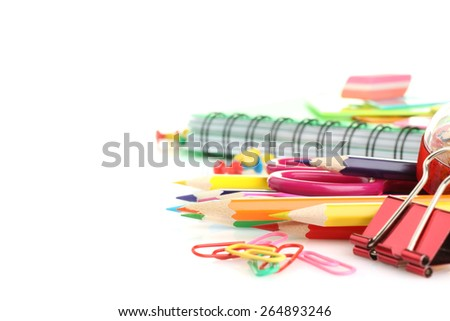 school supplies isolated - stock photo