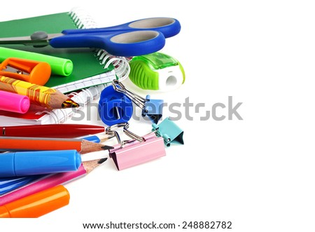 School supplies isolated on a white background