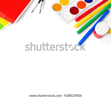 School supplies isolated on white background. - stock photo