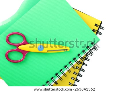school supplies: notebook and scissors isolated - stock photo