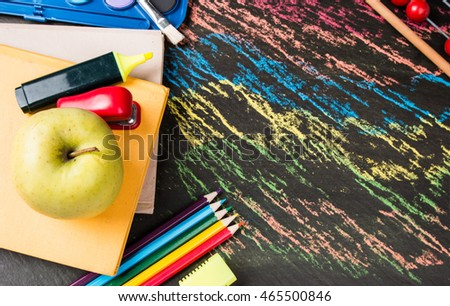 School supplies on black background, Back to school concept