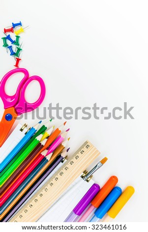 School supplies on white background