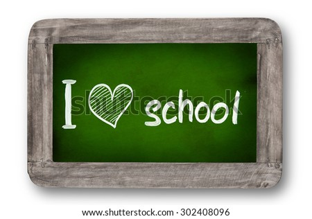 School supplies with small blackboard. - stock photo