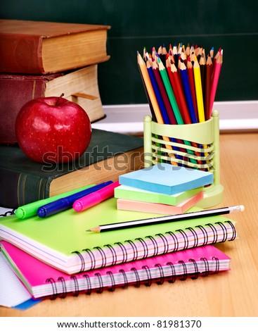 School supplies. Writing utensils. - stock photo