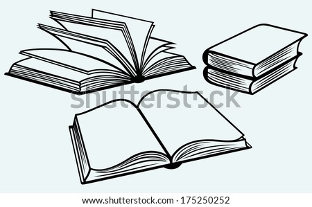 School textbooks isolated on blue background. Raster version - stock photo