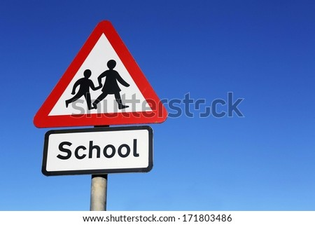 School warning road sign.  - stock photo