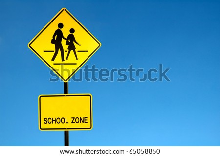 School warning sign - stock photo