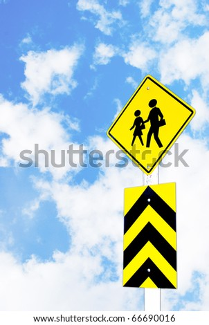 school warning traffic road sign on beautiful sky background - stock photo