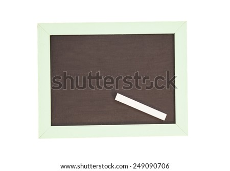 school wooden blank blackboard and white chalk isolated on white background  - stock photo