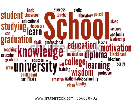 School, word cloud concept on white background.