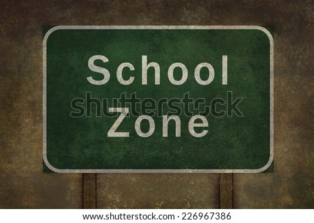 School zone roadside sign illustration, with distressed ominous background - stock photo