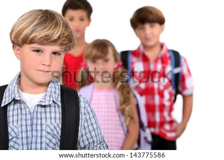 Schoolboy and his friends - stock photo