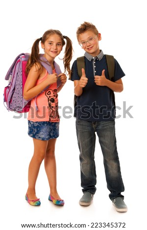 schoolboy and schoolgirl with schoolbags isolated over white
