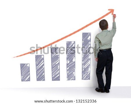 schoolboy draws a graph (with clipping path) - stock photo