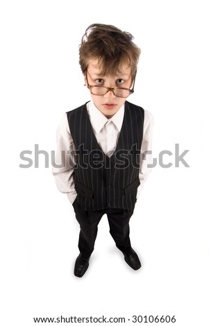 Schoolboy on white background